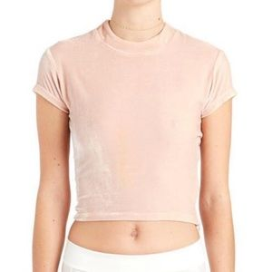Are You Am I Neve Velvet Baby Tee Pink